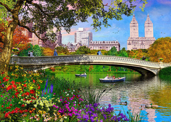 Central America Painting - Bow Bridge by MGL Meiklejohn Graphics Licensing