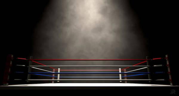Ring Digital Art - Boxing Ring Spotlit Dark by Allan Swart