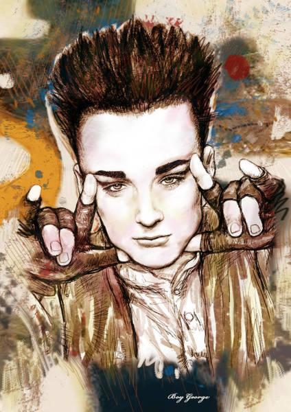 Iggy Pop Wall Art - Drawing - Boy George Stylised Drawing Art Poster by Kim Wang