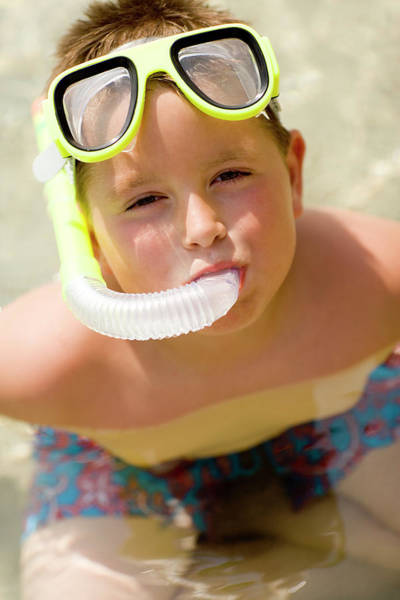 Wall Art - Photograph - Boy Wearing A Snorkel by Ian Hooton/science Photo Library