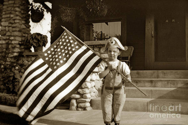 Photograph - Boy With Large American Flag Circa 1912 by California Views Archives Mr Pat Hathaway Archives