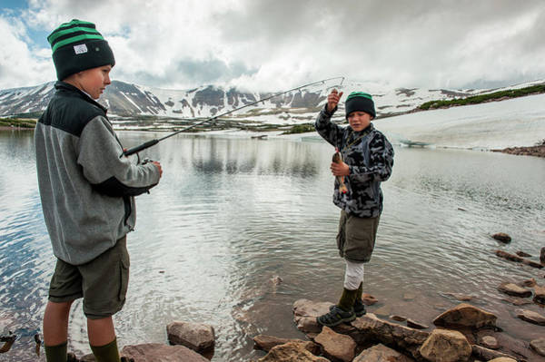 Uinta Photograph - Boys Fish In Superior Lake During A Six by Beth Wald