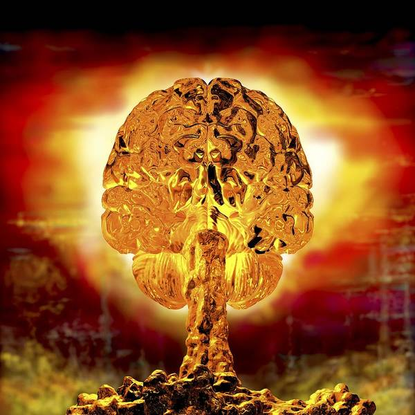 Nuclear Bomb Wall Art - Photograph - Brain As Atomic Bomb by Russell Kightley