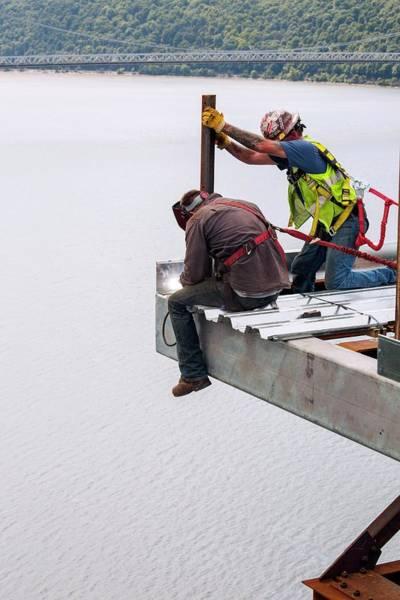 Lift Photograph - Bridge Lift Construction Workers by Jim West