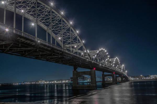 Centennial Bridge Photograph - Bridge Lights by Ray Congrove
