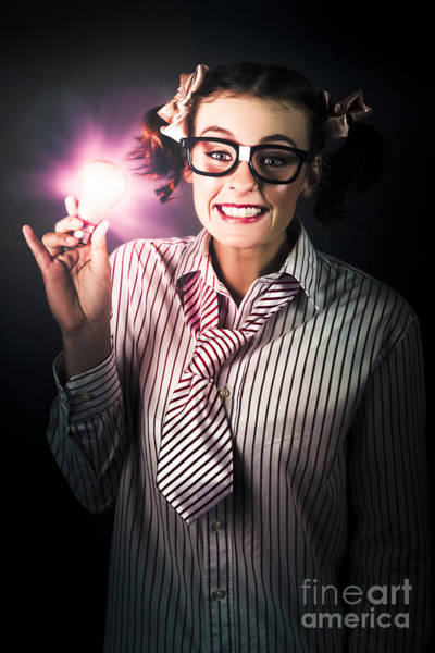 Photograph - Bright And Nerdy Business Woman With Smart Idea by Jorgo Photography - Wall Art Gallery