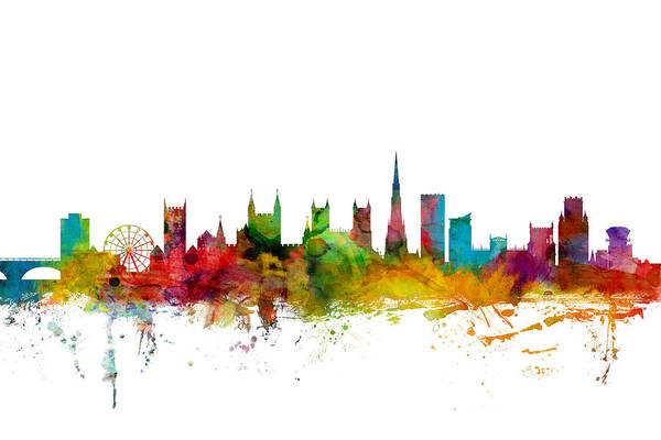 Bristol Wall Art - Digital Art - Bristol England Skyline by Michael Tompsett