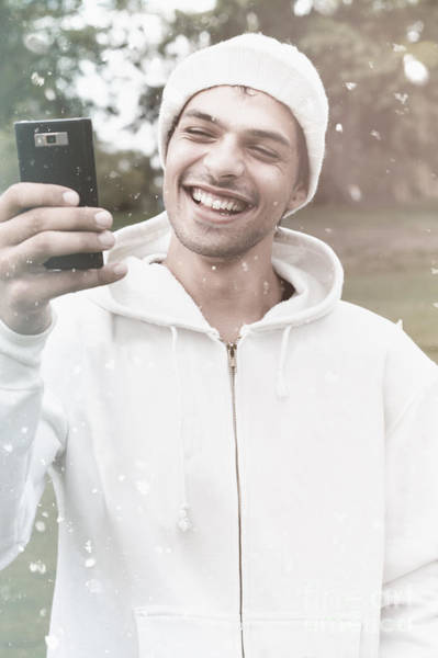 Hoodie Photograph - British Man On Smartphone Call In Winter Snow by Jorgo Photography - Wall Art Gallery