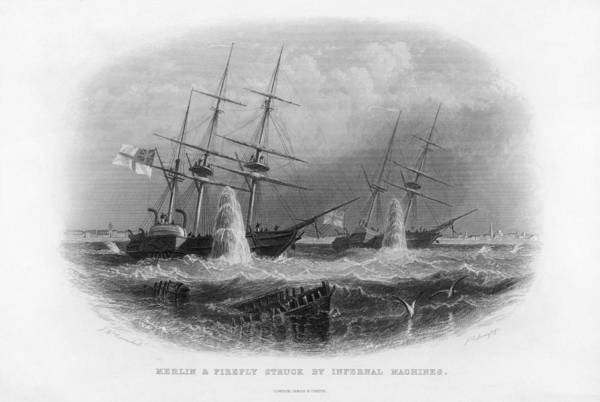 Wall Art - Drawing - British Ships 'merlin' And  'firefly' by Mary Evans Picture Library