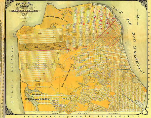Photograph - Britton And Reys Guide Map Of The City Of San Francisco. 1887. by California Views Archives Mr Pat Hathaway Archives