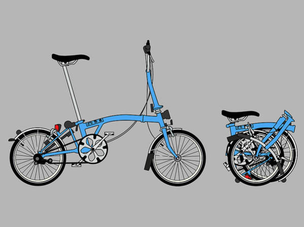 Red Sky Digital Art - Brompton Bicycle by Andy Scullion