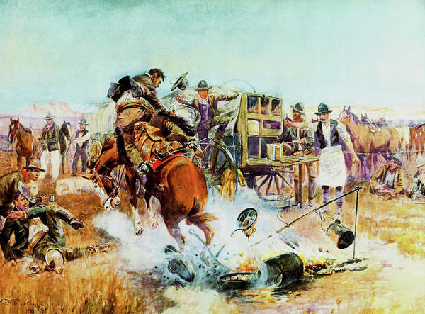 Wagon Digital Art - Bronc For Breakfast by Charles Russell
