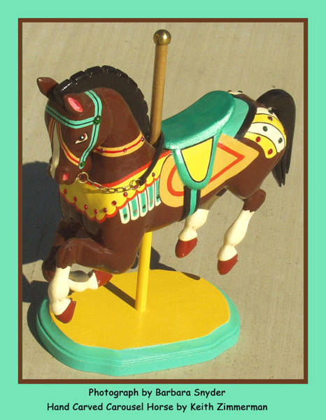 Carousel Digital Art - Brown Carousel Horse by Barbara Snyder and Keith Zimmerman