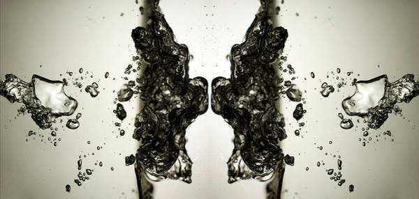 Bubble Photograph - Bubbles In Water Mirrored For Symmetry by Chris Parsons