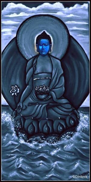 Chinese Buddha Painting - Buddha In Black And White by Carmen Cordova