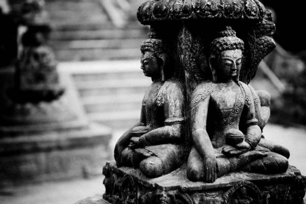 Photograph - Buddhist Sculpture Near Swayambhunath by Raimond Klavins