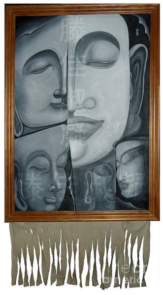 Painting - Buddish Facial Reactions by Fei A