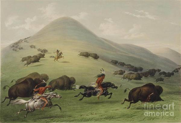 Wall Art - Painting - Buffalo Hunt by Celestial Images
