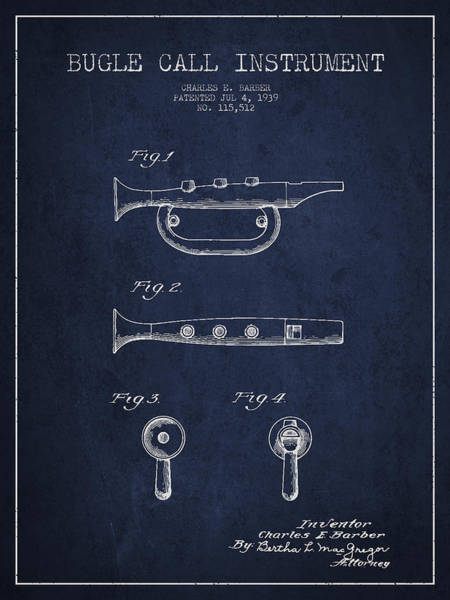 Bugling Wall Art - Digital Art - Bugle Call Instrument Patent Drawing From 1939 - Navy Blue by Aged Pixel