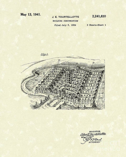 Drawing - Building Construction 1941 Patent Art by Prior Art Design