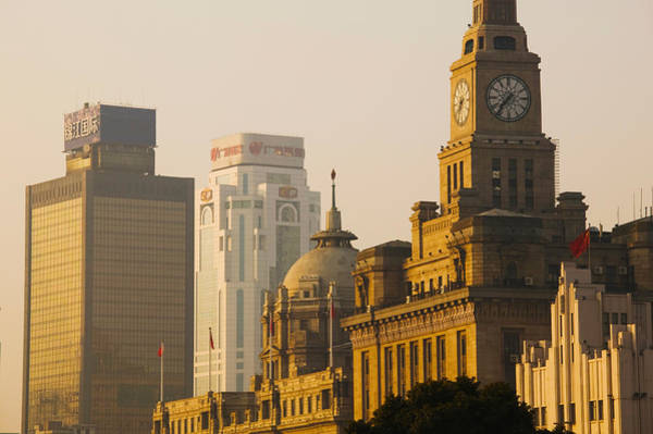 The Clock Tower Photograph - Buildings In A City At Dawn, The Bund by Panoramic Images
