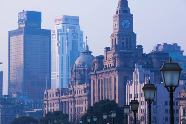 The Clock Tower Photograph - Buildings In A City, The Bund by Panoramic Images
