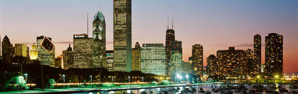 Buildings Lit Up At Night, Chicago Art Print