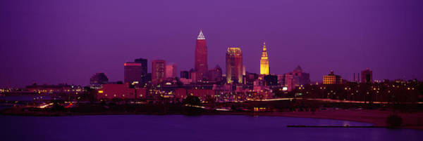 Cleveland Scene Photograph - Buildings Lit Up At Night, Cleveland by Panoramic Images