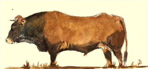 Steer Wall Art - Painting - Bull by Juan  Bosco
