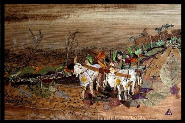 Eco Friendly Mixed Media - Bullock Cart by Basant Soni