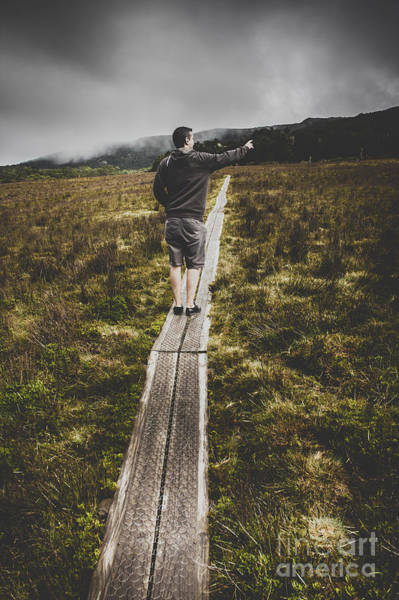 Hikers Photograph - Bushwalking Man In Stormy Remote Mountain Range by Jorgo Photography - Wall Art Gallery