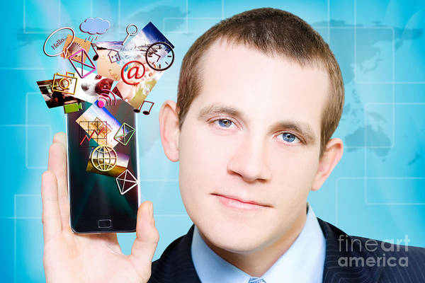 Wall Art - Photograph - Business Man Steaming Media Apps On Smart Phone by Jorgo Photography - Wall Art Gallery
