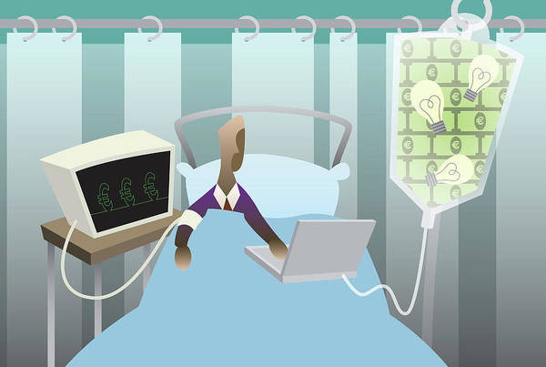 Wall Art - Photograph - Businessman Using A Laptop In A Hospital Bed by Fanatic Studio / Science Photo Library
