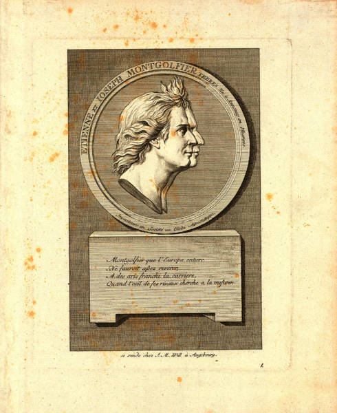 Wall Art - Drawing - Bust-length Double Profile Portrait Of The Montgolfier by Litz Collection