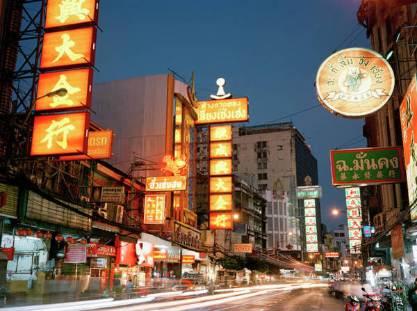 Chinese Language Photograph - Bustling Street In Chinatown At Dusk by Gary Yeowell