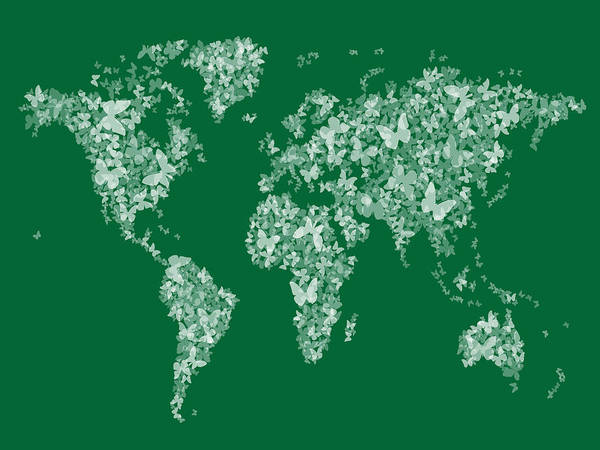 Semis Digital Art - Butterflies Map Of The World Map by Michael Tompsett