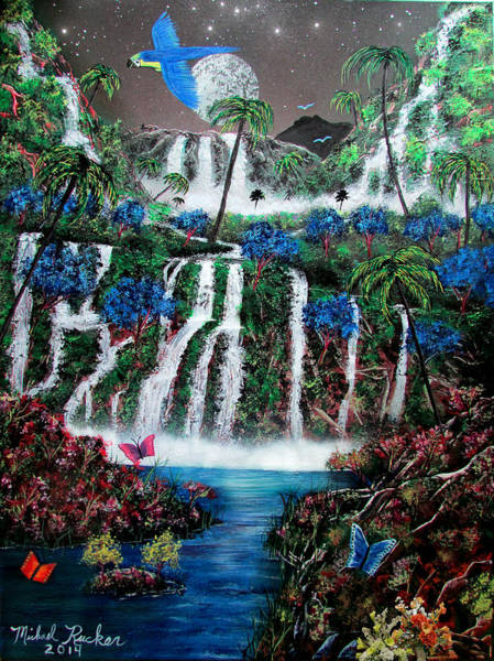 Ocean Wall Art - Painting - Tropical Waterfalls by Michael Rucker