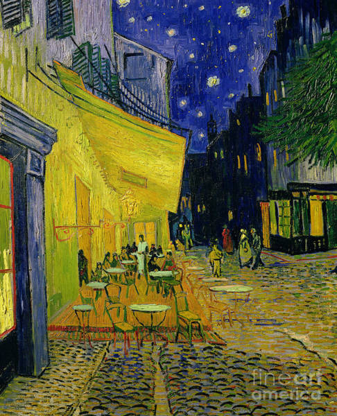 Post Wall Art - Painting - Cafe Terrace Arles by Vincent van Gogh
