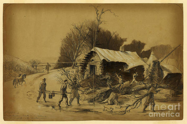 Confederate Soldier Drawing - Camp Near Matawoman by Celestial Images
