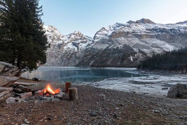 Wall Art - Photograph - Campfire In The Swiss Alps by Michael Szoenyi/science Photo Library