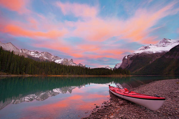 Kayaks Wall Art - Photograph - Canada, Alberta, Jasper National Park by Gary Luhm
