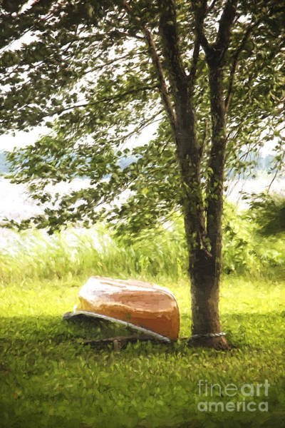 Photograph - Canoe By The Lake/ Digital Painting by Sandra Cunningham