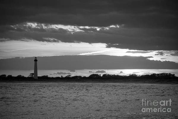 Cape May Lighthouse Photograph - Cape May Lighthouse Sunset Bw by Michael Ver Sprill