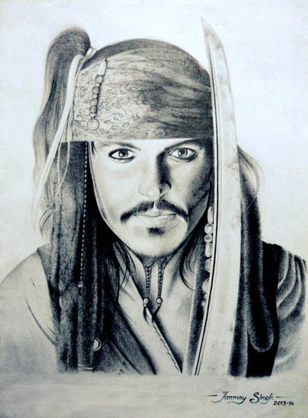 Singh Drawing - Johny Depp - The Captain Jack Sparrow by Tanmay Singh