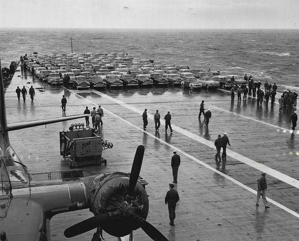 Flight Deck Photograph - Car Lined Carrier Deck by Retro Images Archive