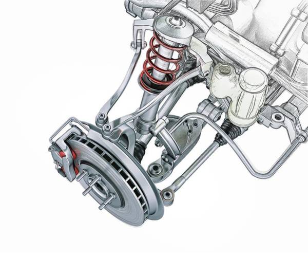Linked Photograph - Car Suspension by Leonello Calvetti/science Photo Library