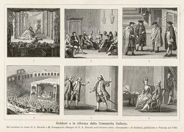 Wall Art - Drawing - Carlo Goldoni Six Scenes Celebrating by Mary Evans Picture Library