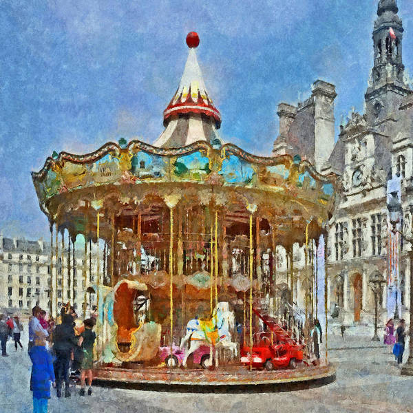 Digital Art - Carousel In Front Of The Hotel De Ville In Paris by Digital Photographic Arts