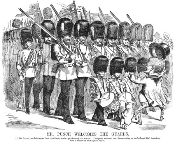 Marching Band Painting - Cartoon Crimean War, 1856 by Granger