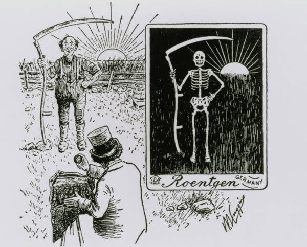 Nobel Prize Winners Wall Art - Photograph - Cartoon Of Roentgen Taking X-ray Of A Farmer by Science Photo Library